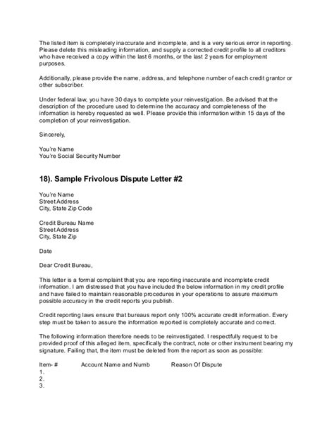 letter of dispute credit dispute letters