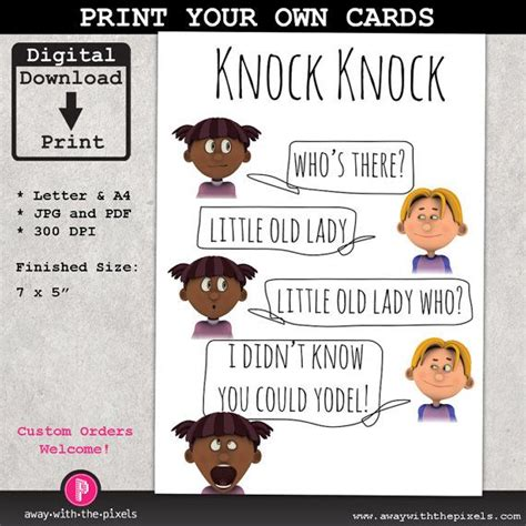 printable children s knock knock jokes knock knock yodel joke greeting card for kids instant