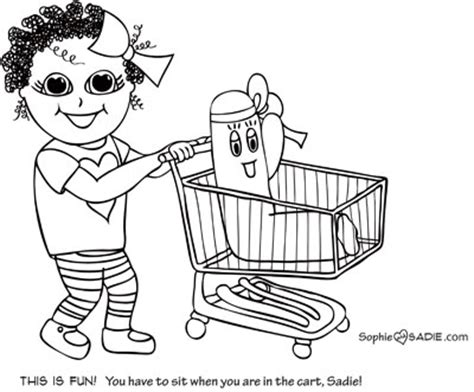 Grocery Cart Sophie And Sadie Shopping Cart Coloring Page