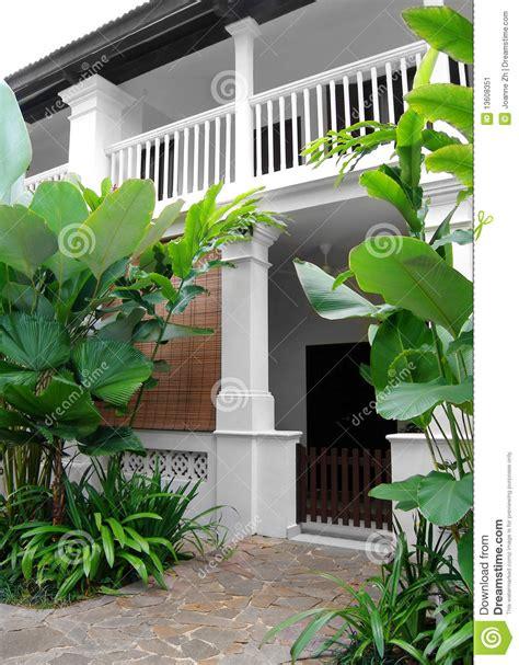 tropical style house  lush garden stock image image