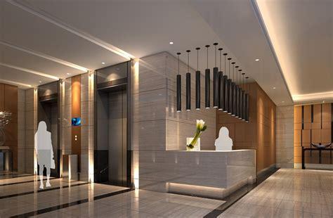 Hotel Elevator Lobby Service Desk Design Rendering