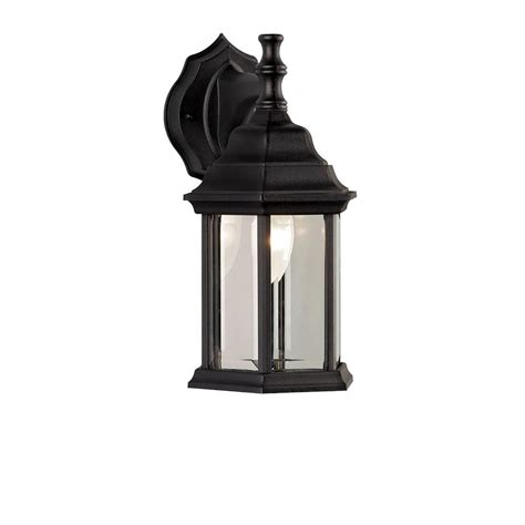 Lantern Wall Sconce by 1 Light Black Outdoor Wall Sconce Owl4 Blk The Home Depot