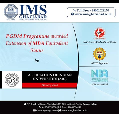 Hunt Mba Rank Usa by Pgdm Programme Of Ims Ghaziabad Has Been Granted Extension