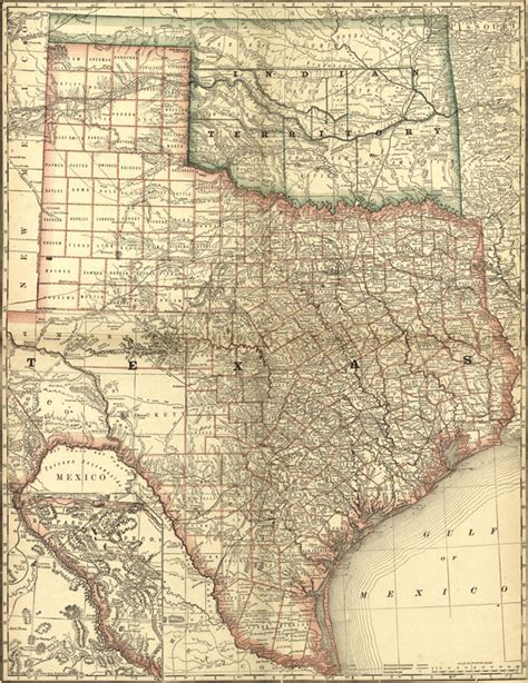 rand mcnally map of texas texas state and indian territory 1881 rand mcnally historic map reprint