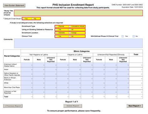 G 500 Phs Inclusion Enrollment Report Nih Budget Template
