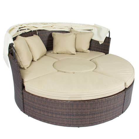 outdoor sectional daybed outdoor patio sofa furniture round retractable canopy