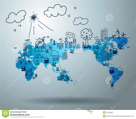 design concept world ecology concept with creative drawing on world map stock