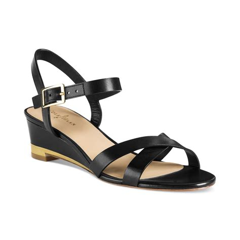 cole haan low wedge sandals in black lyst