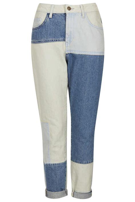 Topshop Patchwork - topshop moto patchwork high waist in blue lyst