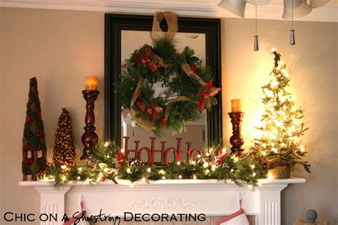 christmas decorating chic on a shoestring decorating rustic christmas mantel