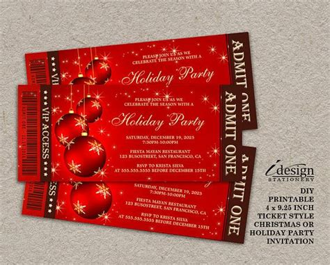 christmas party ticket template 180 best and invitations images on invitations