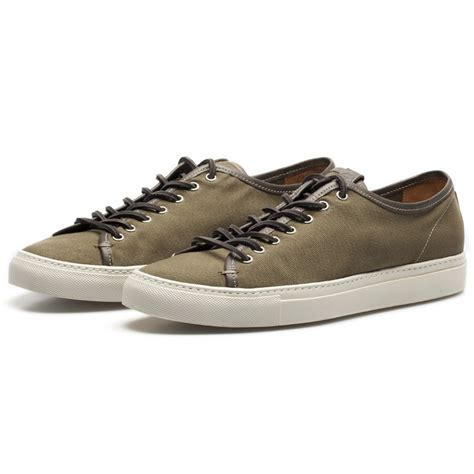 low profile sneakers buttero green canvas low profile sneakers in