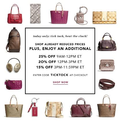 coach factory: up to 69% off + extra 25% off entire