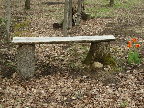 tree stump bench ideas rustic outdoor bench made from two tree stumps and a piece