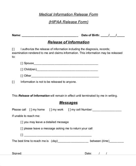 sle medical information release form 7 exles in