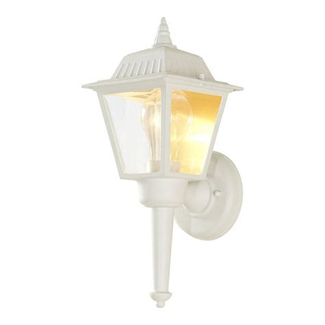 white outdoor wall lantern hton bay 1 light white outdoor wall lantern hw 5004