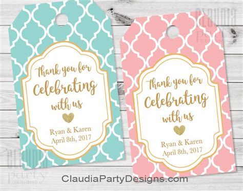Wedding Favors Tags by Wedding Thank You Tags Bridal Shower Favor Tags