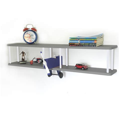 bi plane wall shelf bookcases bookshelves children s b plane wall shelf navy grey white for children s