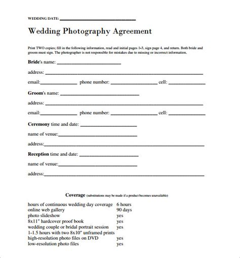 wedding contract template 24 download free documents