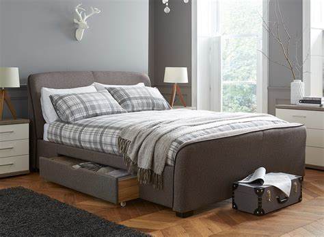 in bed with rayner brown tweed upholstered bed frame dreams