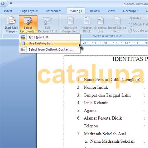 membuat rapor dengan mail merge membuat biodata siswa dengan mail merge catalupa