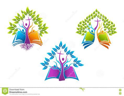 Bible Christian Tree Logo Book Root Icon Holy Spirit Family People Church Vector Symbol Tree Logo Setpeople Logo Setfamily