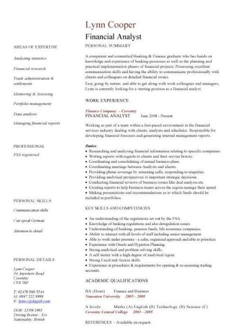 Financial analyst CV sample, interrogating financial data