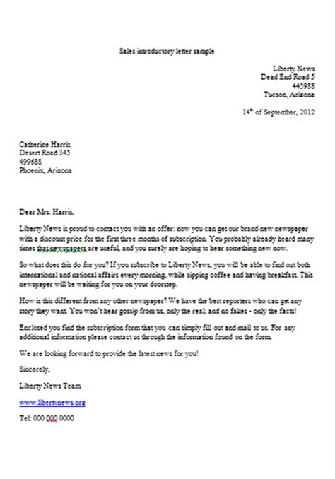 Sales Introduction Letter Exles Sales Introductory Letter Template