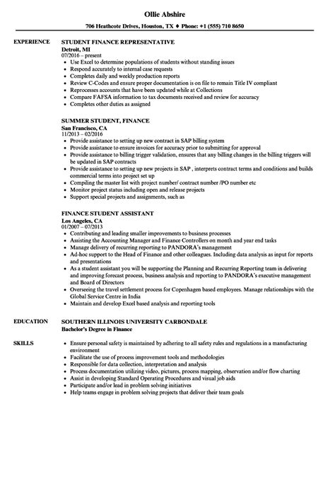Finance Resume by Finance Student Resume Sles Velvet
