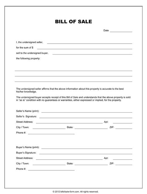 Sle Of Resume Blank Form Bill Of Sale Forms Free Printable Documents