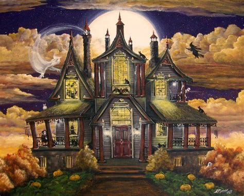 manor haunted house halloween art haunted house manor ghosts witches skeleton cats byrum print ebay