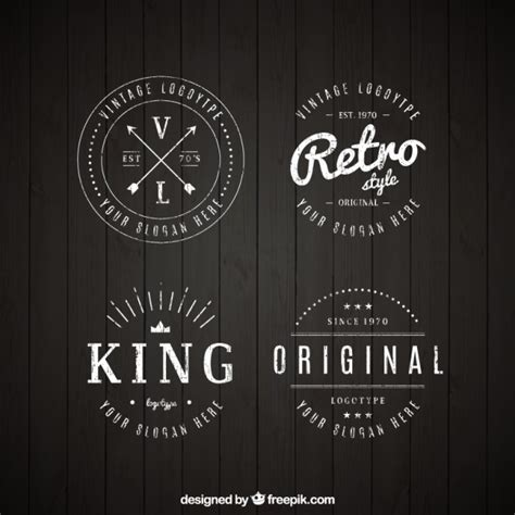 logo retro set of vintage logos in linear style vector free