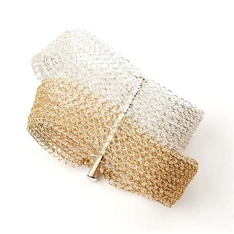silver and gold cuff layered bracelet wire crochet