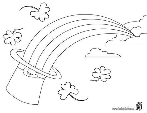 rainbow coloring page with leprechaun leprechaun hat and rainbow coloring pages hellokids com