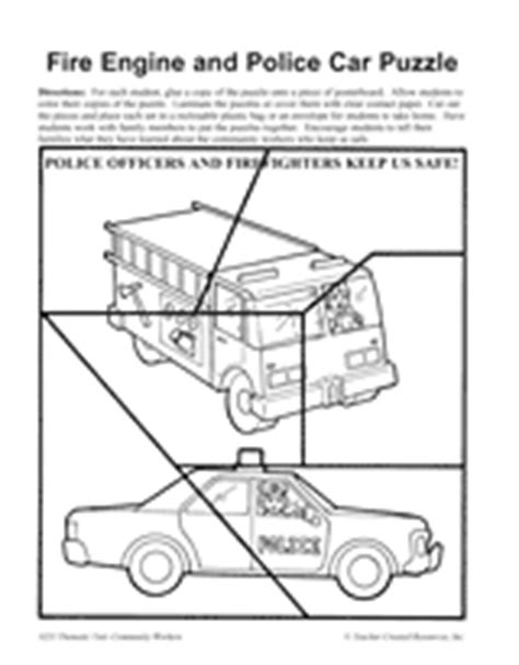 printable puzzle cars and car parts fire engine and police car puzzle printable pre k 1st