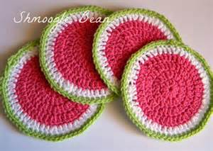 the quirky crafting shmoogle bean watermelon crochet coasters