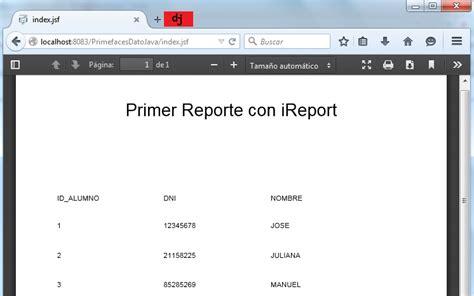 tutorial java primefaces dato java ireport con oracle pl sql y aplicaci 243 n java web