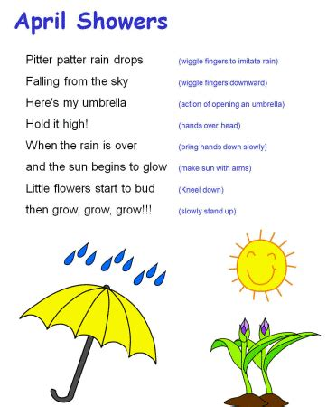 kindergarten themes for april and may april showers song preschool y ideas pinterest april
