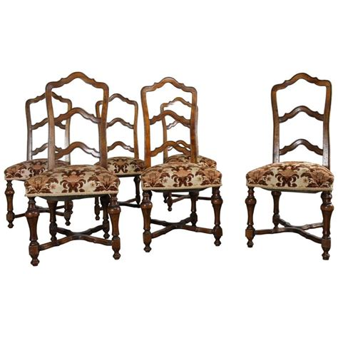 set of six louis xiv style walnut ladderback dining