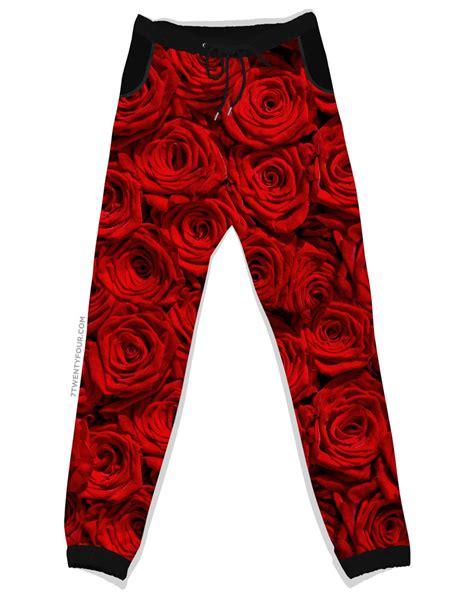 rose pattern joggers 7twentyfour com unisex women s streetwear crewnecks