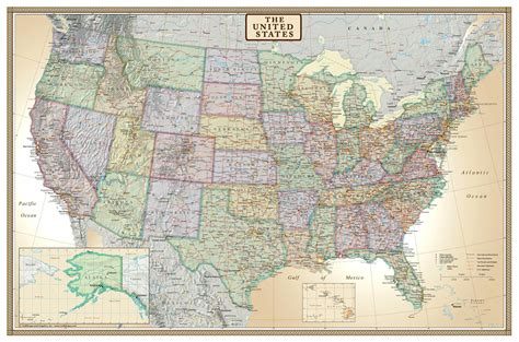 paper road map usa 24x36 united states usa us executive wall map poster