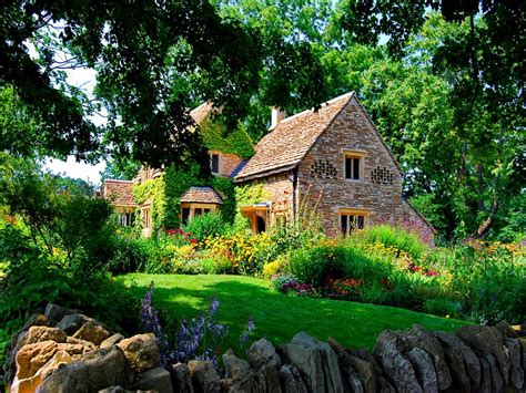lovely summer home houses beautiful countryside house grass forest stone