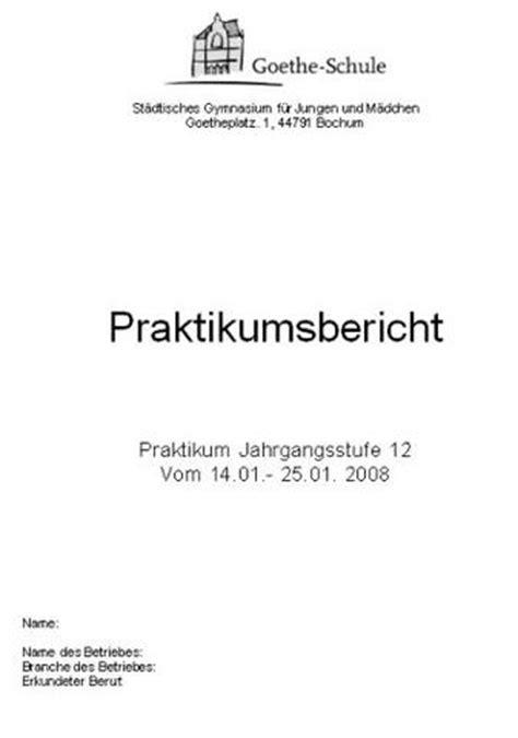Praktikums Mappe Vorlage Praktikumsmappe Deckblatt Schule Beruf Praktikum