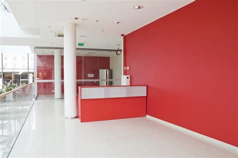 Interior Design App Android big red wall at modern office photograph by aleksandr volkov