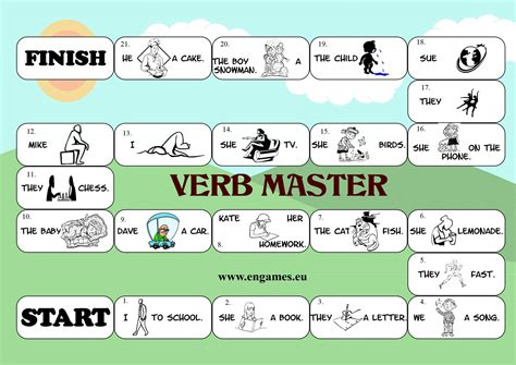 printable games with the verb to be verb master board game games to learn english games to
