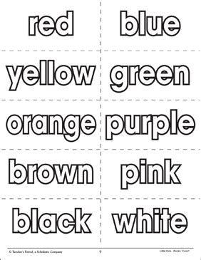 color word color words flash cards printable flash cards and