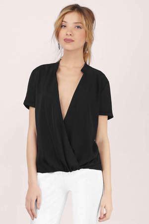 Kode 60293 Tunic black blouse wrap blouse black blouse black