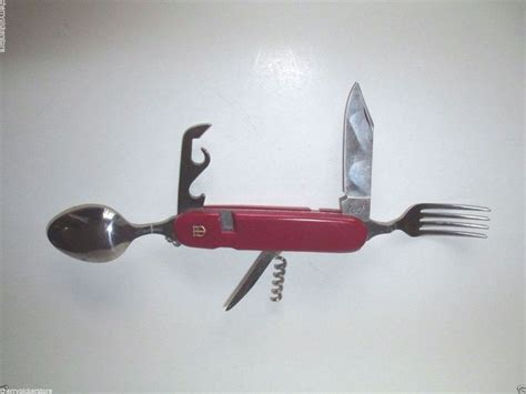 swiss army knife with fork and spoon swiss army pocket knife fork spoon cork separates