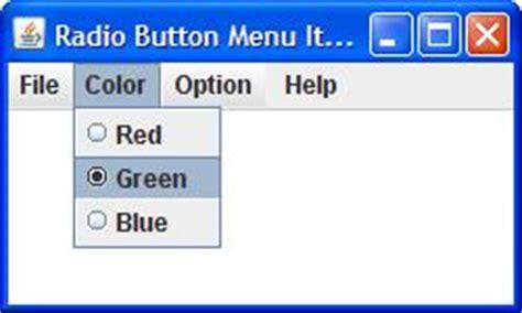 swing radio button jradiobuttonmenuitemtest java radio button menu item