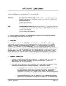 Financial Contract Template by Financing Agreement Template Sle Form Biztree